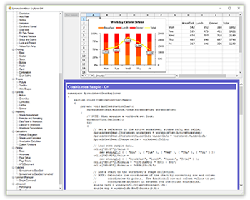 Click for a large image of the SpreadsheetGear Explorer C# Sample Solution